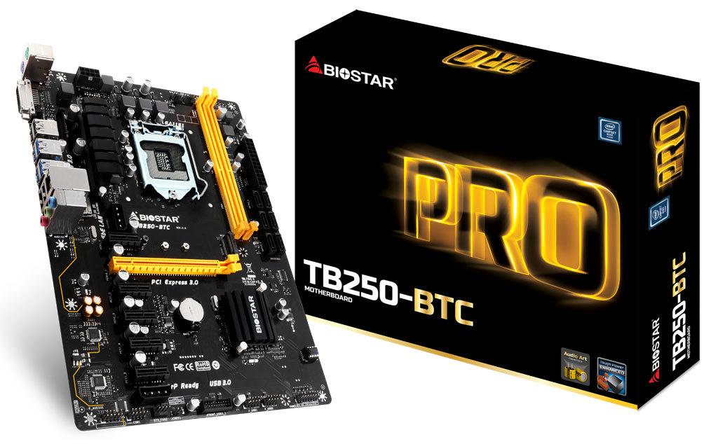 Biostar Motherboard TB250-BTC LGA 1151 for mining 6 video cards